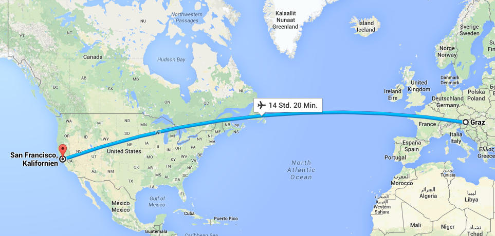 Our flight route to the US (googlemaps)